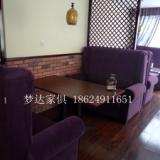 供应用于皮革的郑州咖啡厅卡座餐桌椅组合西餐厅奶茶店田园实木双人皮艺沙发桌椅
