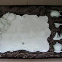 供应浮雕弥勒佛玉瓷茶盘陶瓷茶盘
