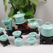 活瓷龙头雕功夫茶具生产厂家图片