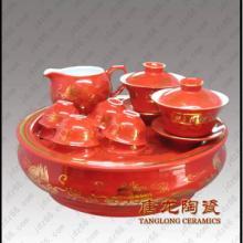 供应景德镇陶瓷茶具中国红陶瓷茶具高档礼品陶瓷茶具图片
