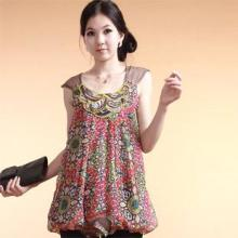 2011新款夏装韩国无袖雪纺衫裙衫无袖订珠红色批发