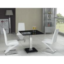 供应白色现代的餐厅餐桌餐椅/黑色玻璃餐桌/白色皮革餐椅批发