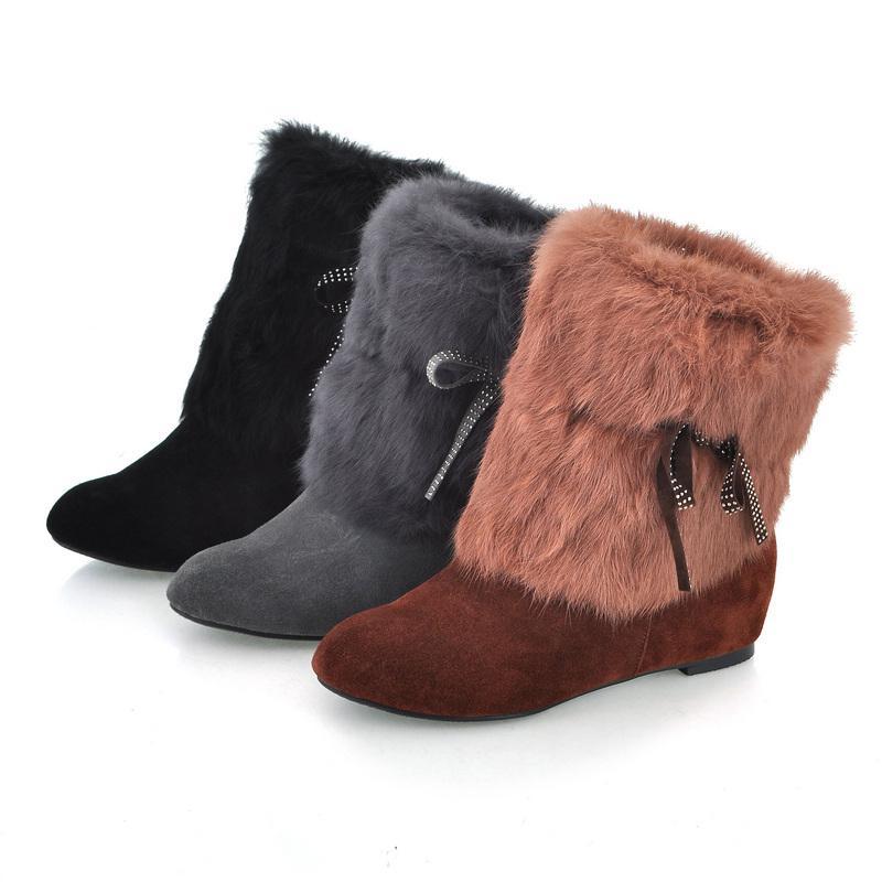 女鞋 防滑/包邮毛绒丝带磨砂防滑底平底低跟短靴女鞋女靴图片