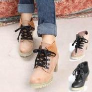 粗跟短靴中筒靴中跟厚底靴子高跟女图片
