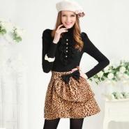 冬装新款女装豹纹蝴蝶结多层花苞半图片