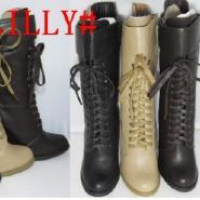 外贸库存低筒前系带坡跟女靴批发图片