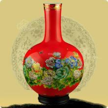 供应中国湖南醴陵红瓷器 醴陵红瓷花瓶 高档礼品 大花篮金牡丹