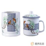 陶瓷青花玉堂富贵茶杯+笔筒两件套图片