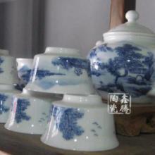 供应青花山水茶具-青花瓷套装茶具图片