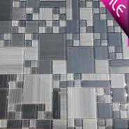 华硅灰色手绘背景墙玻璃马赛克图片