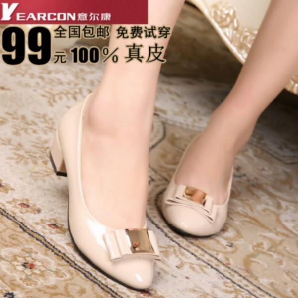 供应2014女鞋真皮女单鞋中跟粗跟坡跟鞋