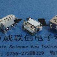 供应USB_A母四脚DIP6.3高脚针贴焊4P短体铜