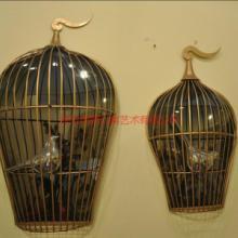供应铁艺鸟笼壁饰壁挂金属艺术鸟笼摆件不锈钢鸟笼雕塑鸟笼制作厂家图片