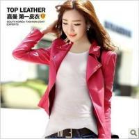 韩版短款女式PU皮衣修身机车皮夹克