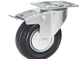 欧式工业脚轮防静电黑胶轮图片