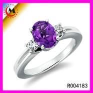 925银戒指50分经典欧美紫钻女戒图片