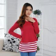 女装假两件中长T恤-韩版服装批发图片