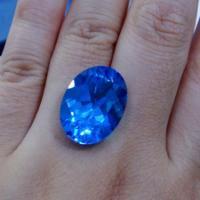 供应瑞士蓝托帕石顶级托帕裸石定制戒指