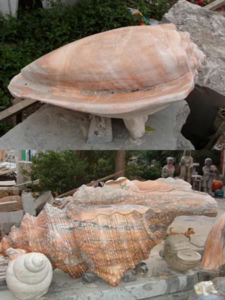 供应石雕海螺砗磲喷水蜗牛田螺海底贝类生物海滩摆件青蛙车船石船算盘