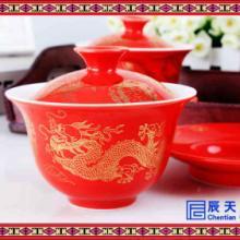 传统复古陶瓷茶碗粉彩花鸟盖碗陶瓷盖碗茶具