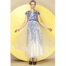 供应真丝波西米亚风荷叶边水蓝色沙滩裙批发一件代发批发