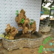 天然吸水石头假山鱼池盆景图片