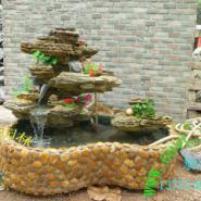 真石头自己做风水假山流水鱼池盆景图片