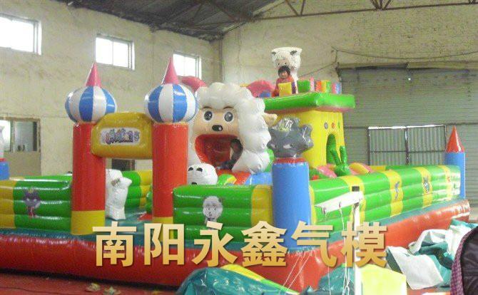 供应平顶山充气城堡光头强蹦蹦床 充气水池 充气玩具 产品气模,平顶山充气玩具儿童玩具厂家供应
