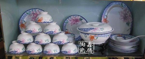 供应景德镇陶瓷青花玲珑餐具 釉上彩套装餐具