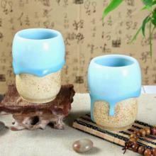 供应工艺茶具茶杯青白瓷流釉陶瓷水杯批发