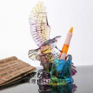 浙江琉璃办公礼品摆件热销飞鹰笔筒图片