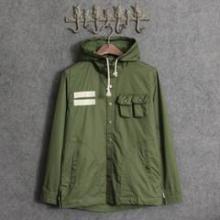 供应秋装新款潮牌男士韩版军绿色夹克连帽休闲男款批发