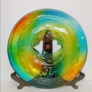 中式透明圆盘摆件图片