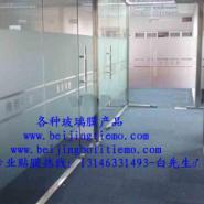 北京玻璃门磨砂膜防撞条腰线制作图片