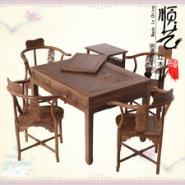 鸡翅木中式仿古实木茶桌六件套图片