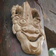 供应手工木雕鬼脸面具工艺品镇宅面具  可上漆 来样来图定制