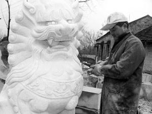 江苏连云港公墓石狮子加工图片