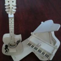 供应木制吉他模型拼图玩具,儿童DIY益智拼装,智力创意玩具厂家定制