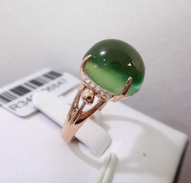供应天然葡萄石戒指18K金镶钻石葡萄石戒指 深圳绚彩珠宝