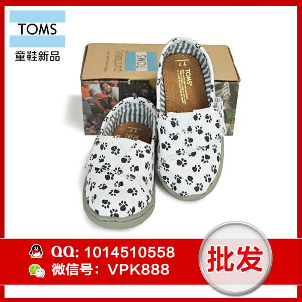 供应toms童鞋女 正品爪印帆布女童鞋