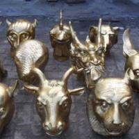 供应专业生产铜麒麟雕塑工艺品厂家