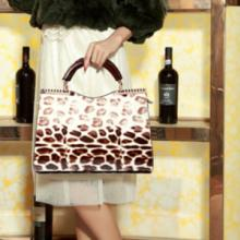 供应豪威袋鼠2015新款包包欧美时尚商务休闲牛皮豹纹手提包女包批发