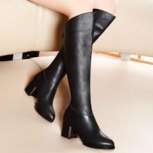 供应moolecole/莫蕾蔻蕾欧美个性尖头高跟骑士靴街头潮流过膝长靴图片