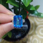天然瑞士蓝托帕石戒指18K金镶钻石图片