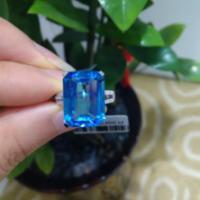 供应天然瑞士蓝托帕石戒指18K金镶钻石 天然彩宝批发
