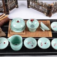 10头龙泉小碗茶具红鱼图片