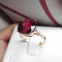 供应18K玫瑰金方枕形镁铝石榴宝石戒指