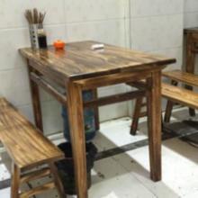 供应实木餐桌椅--宜宾燃面桌椅,串串香桌椅,分体快餐桌椅,炭化木扎啤桌