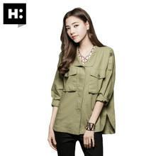 供应女式工装外套HCONNECT韩版女式工装衬衫大口袋短款外套 2015春夏新款
