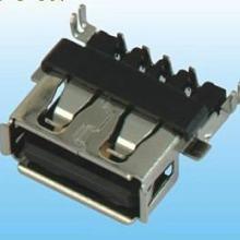 供应USBAF连接插座 沉板DIP插叉状脚正向胶芯带卷边图片